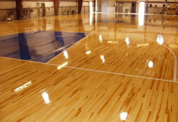 Wooden floor in the gym